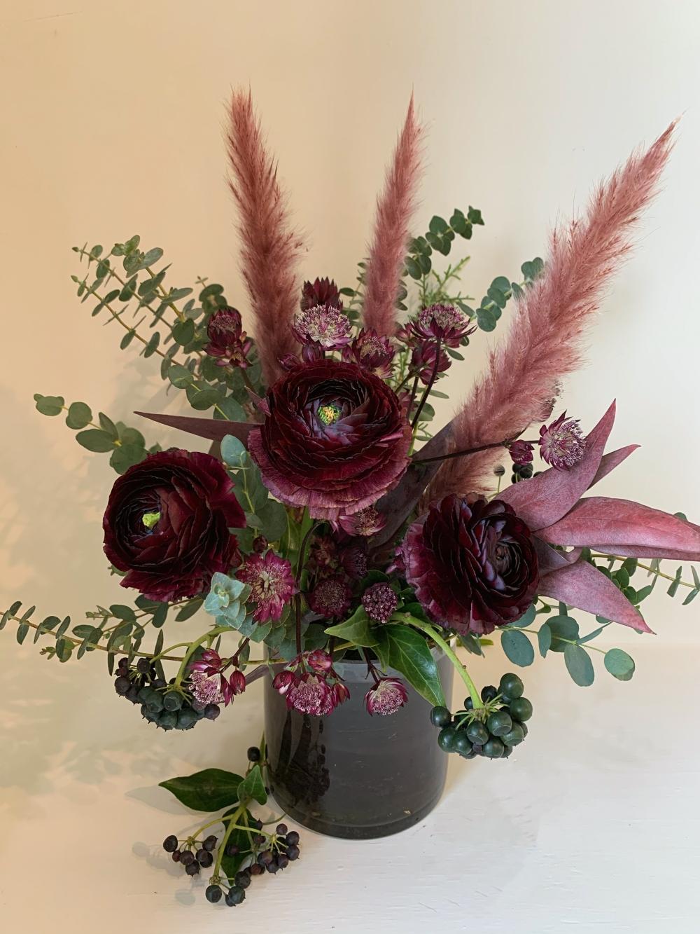 Saint-Valentin: renoncule bordeaux pampas rose # 1